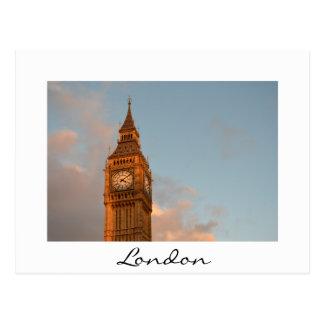 ロンドンの白い文字の郵便はがきのビッグベン ポストカード