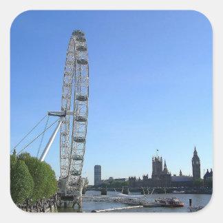 ロンドンの目の観覧車が付いているステッカー スクエアシール