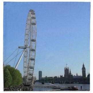 ロンドンの目の観覧車が付いているナプキン ナプキンクロス