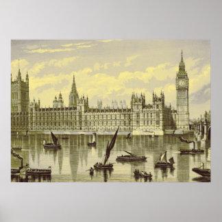 ロンドンの議会のビッグベンテムズウエストミンスターの19世紀 ポスター