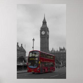 ロンドンの赤いバスビッグベン ポスター