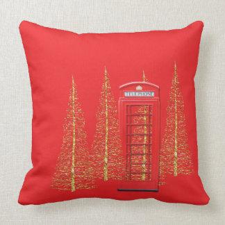 ロンドンの赤い電話ボックスの金ゴールドの木の装飾用クッション クッション