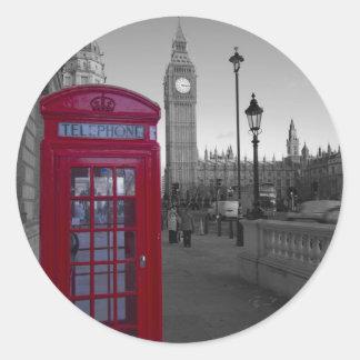 ロンドンの赤い電話ボックス ラウンドシール