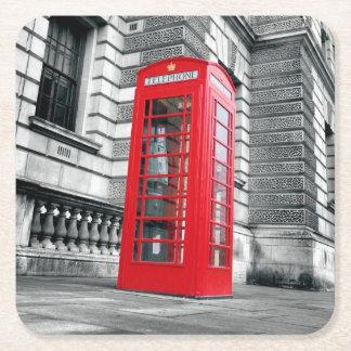 ロンドンの赤い電話箱のコースター スクエアペーパーコースター