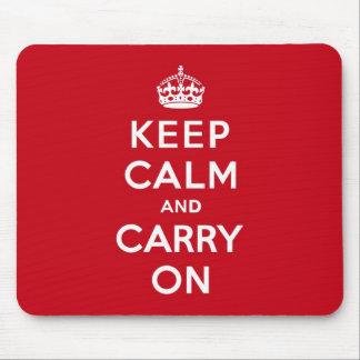 ロンドンの赤のKeep Calm and Carry On マウスパッド
