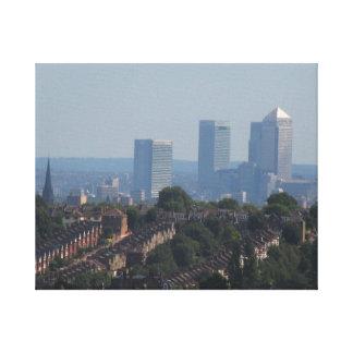 ロンドンの都市景観-カナリア色の波止場の写真 キャンバスプリント