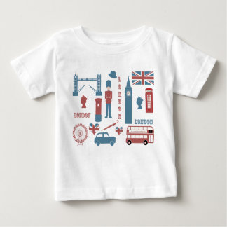 ロンドンアイコンレトロ愛ベビーの白い幼児Tシャツ ベビーTシャツ