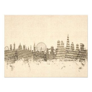 ロンドンイギリスのスカイラインの楽譜の都市景観 フォトプリント