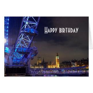 ロンドンイギリス夜景色のロンドンの目の眺め カード
