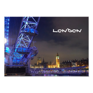 ロンドンイギリス夜景色のロンドンの目の眺め フォトプリント