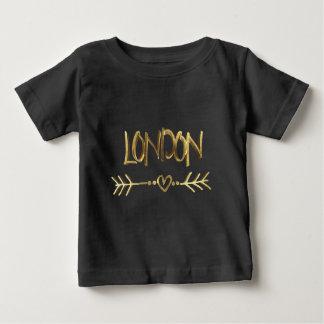 ロンドンエレガントなイギリス愛黒の金ゴールドのタイポグラフィ ベビーTシャツ
