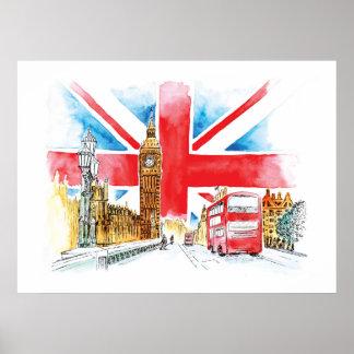ロンドンビッグベンのキャンバス ポスター