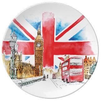 ロンドンビッグベンのプレート 磁器プレート