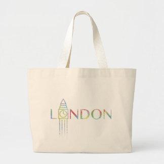ロンドンビッグベン色のしぶきのジャンボトートバック ラージトートバッグ
