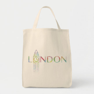 ロンドンビッグベン色のしぶきの食料雑貨のトートバック トートバッグ