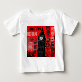 ロンドンビッグベン赤くモダンな旅行コラージュ ベビーTシャツ