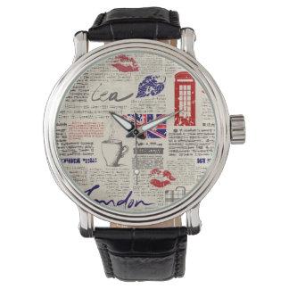 ロンドン新聞パターン 腕時計