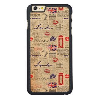 ロンドン新聞パターン CarvedメープルiPhone 6 PLUS スリムケース
