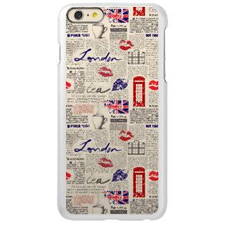 ロンドン新聞パターン INCIPIO FEATHER SHINE iPhone 6 PLUSケース