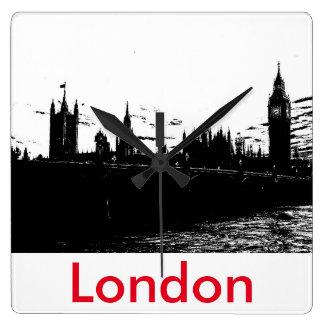 ロンドン橋およびビッグベンの最小主義のデザインの時計 スクエア壁時計
