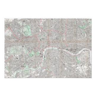 ロンドン都市のヴィンテージの地図 フォトプリント