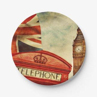 ロンドン、イギリスの赤い電話ボックスそしてビッグベン ペーパープレート