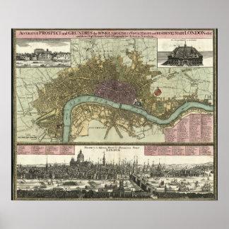 ロンドン、イギリス(1740年)の歴史的な地図 ポスター
