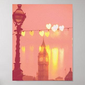 ロンドン ビッグベン写真によってろ過されるNightime ポスター