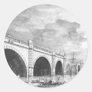 ロンドン: 修理Canalettoの下のウエストミンスター橋 ラウンドシール