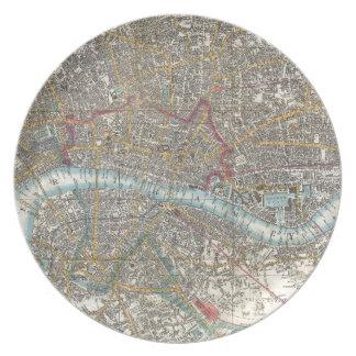 ロンドン(1848年)のヴィンテージの地図 プレート