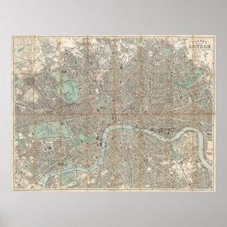 ロンドン(1890年)のヴィンテージの地図 ポスター