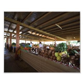 ローカル村の市場、フィージー フォトプリント