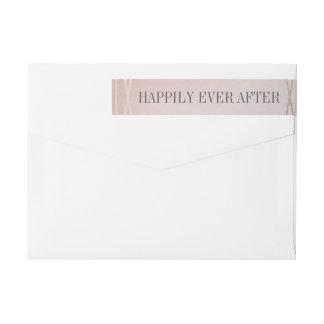 ローズクォーツのオパールのような結婚式招待状の封筒 ラップアラウンドラベル