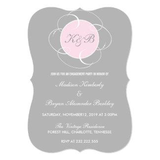 ローズクォーツの灰色のモノグラムの婚約パーティ カード