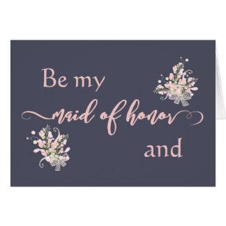 ローズクォーツの花柄は私のメイド・オブ・オーナー(花嫁付き添い人)カードです カード