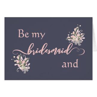 ローズクォーツの花柄は私の新婦付添人カードです カード