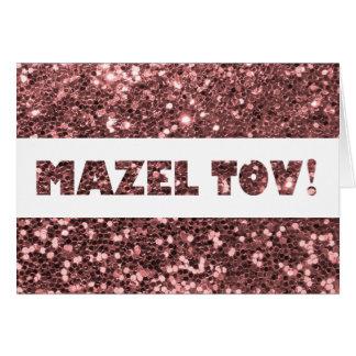 ローズピンクのグリッターのMazel Tovのお祝い カード