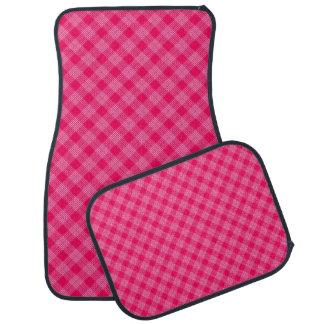 ローズピンクのタータンチェック(淡い色ので赤いデザイン)の~ カーマット
