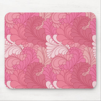 ローズピンクのレトロの花のペイズリーの羽 マウスパッド