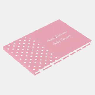 ローズピンクの水玉模様のカスタムなイベントのテンプレート ゲストブック