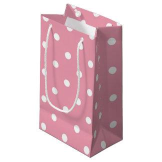 ローズピンクの水玉模様のギフトバッグ スモールペーパーバッグ