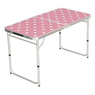 ローズピンクの水玉模様 ビアポンテーブル