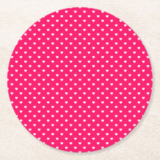 ローズピンクの白いキャンデーの水玉模様のハート ラウンドペーパーコースター