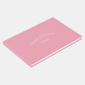 ローズピンクの誕生日の名前入りなテンプレート ゲストブック