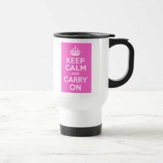 ローズピンクのKeep Calm and Carry On トラベルマグ