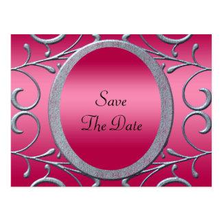 ローズピンク及び金属銀スクロール結婚 ポストカード