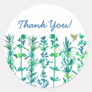 ローズマリーのタイムの蜂の水彩画のハーブは感謝していしています ラウンドシール