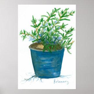 ローズマリーの台所ハーブの植物の水彩画の絵画 ポスター