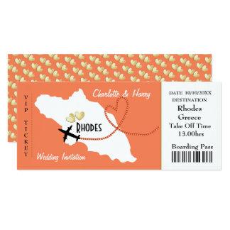 ローデスのギリシャの結婚式への航空券の搭乗券 カード