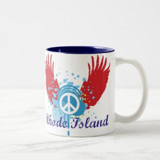 ロードアイランドのピースサイン ツートーンマグカップ